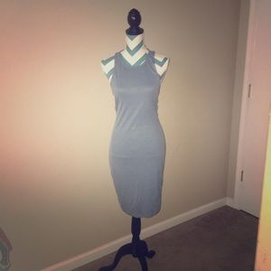 Dusty blue bodycon dress with side cut outs